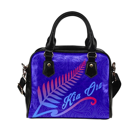 Kia Ora Silver Fern Navy Shoulder Handbag K9 - 1st New Zealand