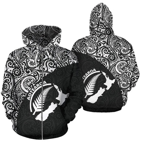 Aotearoa Rugby with Map and Silver Fern Zip-Up Hoodie TH05 - 1st New Zealand