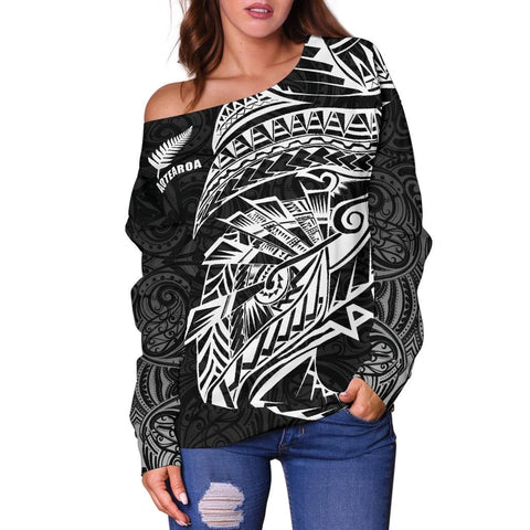 Image of Maori Tattoo Off Shoulder Sweater Polynesian Style Black K4 - 1st New Zealand