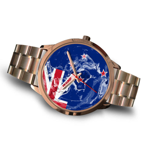World Map With Flag New Zealand Rose Gold Watch K4 - 1st New Zealand
