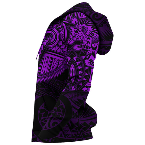 New Zealand Hoodie, Maori Tattoo Wolf Dragon Pullover Hoodie - Purple K4 - 1st New Zealand