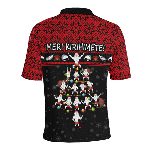 New Zealand Christmas Polo Shirt Haka Tree K4 - 1st New Zealand