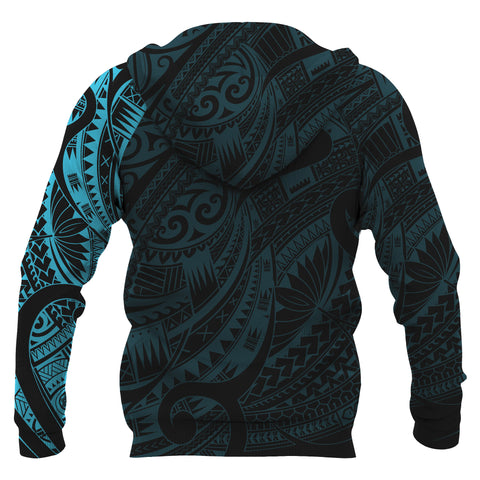 Maori Tattoo Style All Over Hoodie Blue - Custom Version A74 - 1st New Zealand