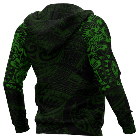New Zealand Hoodie, Maori Tattoo Wolf Dragon Pullover Hoodie - Green K4 - 1st New Zealand