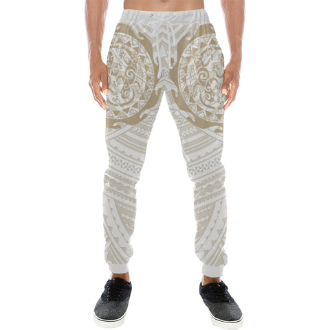 Maori Tangaroa Tattoo New Zealand Sweatpants with Golden mix White color - Front - For Men
