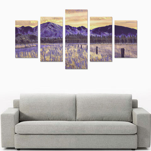 Sunset over Mountains And Lupins New Zealand Canvas Print K4 - 1st New Zealand