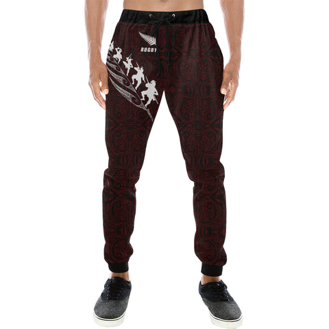 Rugby Haka Fern - Dark Purple Sweatpants - sweatpants for men/women