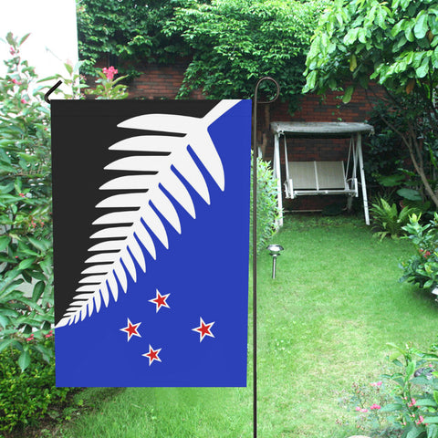 Image of Silver Fern New Zealand Garden Flag (Black,White and Blue) - garden flags, new zealand garden flag, flag new zealand, home decor