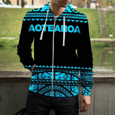 Maori New Zealand Zip Up Hoodie Blue - 1st New Zealand