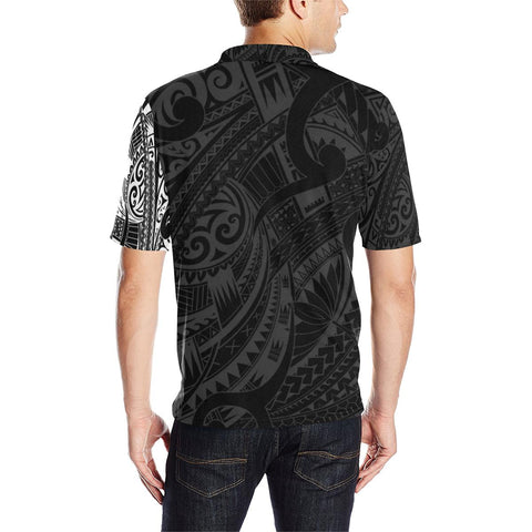 Maori Tattoo Style Black and White Polo T Shirt A72 - 1st New Zealand