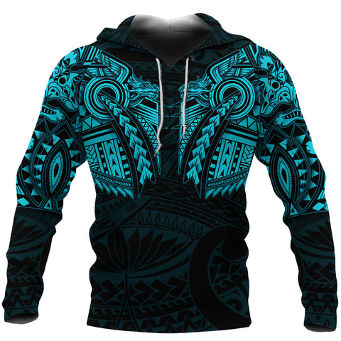 New Zealand Hoodie, Maori Tattoo Wolf Dragon Pullover Hoodie - Blue K4 - 1st New Zealand