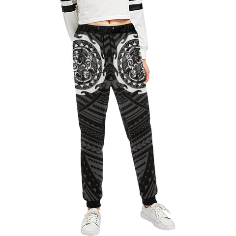Maori Tangaroa Tattoo New Zealand Sweatpants with Black mix White color - Front - For Women