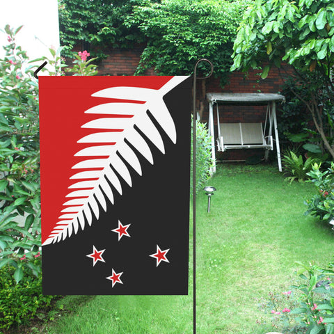 Silver Fern New Zealand Garden Flag (Red,White and Black) - garden flags, new zealand garden flag, flag new zealand, home decor