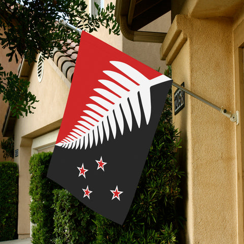 Silver Fern New Zealand Garden Flag (Red,White and Black) K4