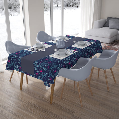 Image of New Zealand Pohutukawa Tablecloth Blue and Pink - 1st New Zealand