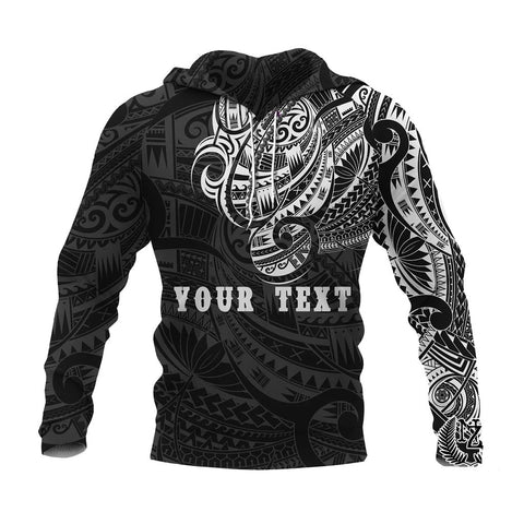 Maori Tattoo Style All Over Hoodie White - Custom Version A74 - 1st New Zealand