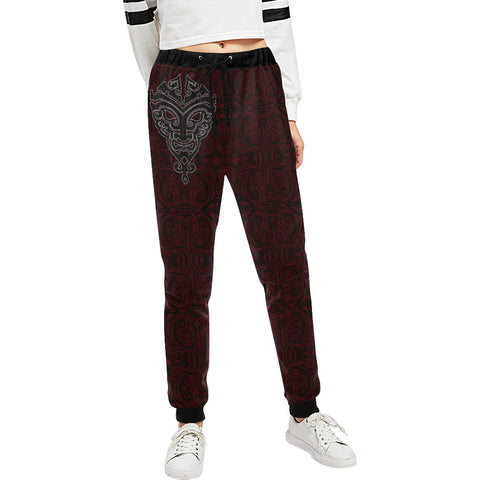 Image of Maori Face - Dark Red Sweatpants K47 - 1st New Zealand
