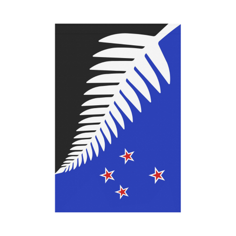 Image of Silver Fern New Zealand Garden Flag (Black,White and Blue) K4