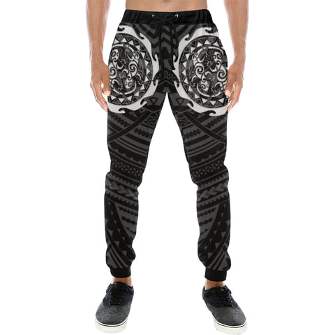 Maori Tangaroa Tattoo New Zealand Sweatpants with Black mix White color - Front - For Men