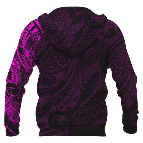 Maori Tattoo Style All Over Hoodie Pink Version A7 - 1st New Zealand