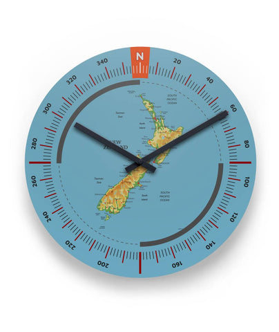 New Zealand Physical Map 11 Round Wall Clock - 1st New Zealand