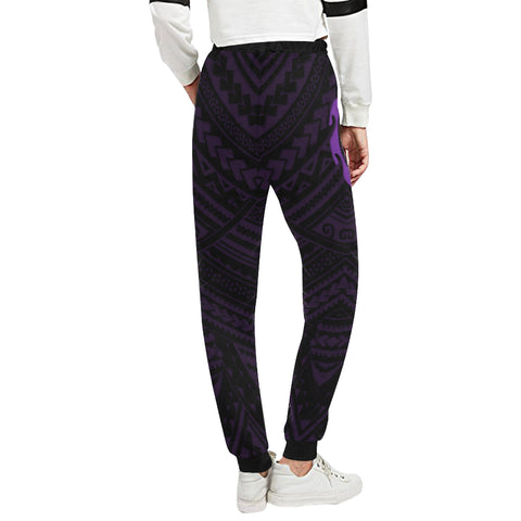 Maori Tangaroa Tattoo New Zealand Sweatpants with Black mix Purple color - Back - For Women