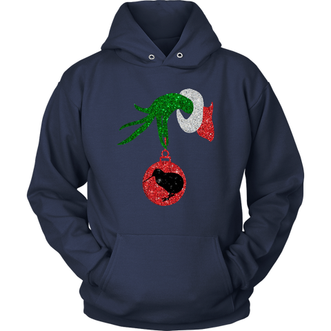 Image of Grinch Hand Hold Kiwi T shirt Christmas K4