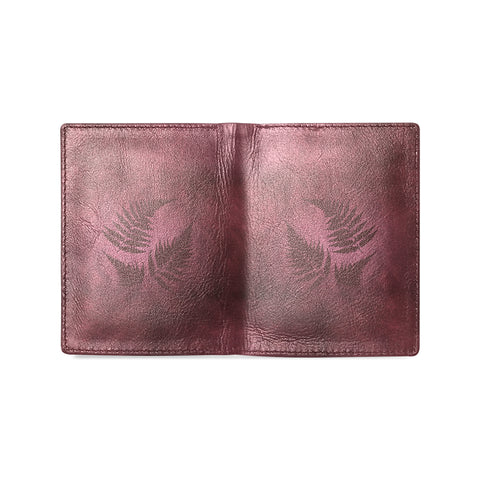 Burgundy New Zealand Fern Men's Leather Wallet - two face