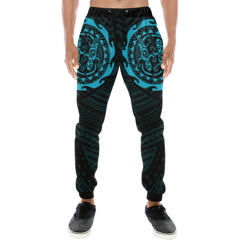 Maori Tangaroa Tattoo New Zealand Sweatpants with Black mix Blue color - Front - For Men