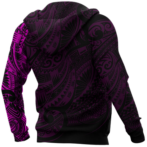 Maori Tattoo Style All Over Hoodie Pink - Custom Version A74 - 1st New Zealand