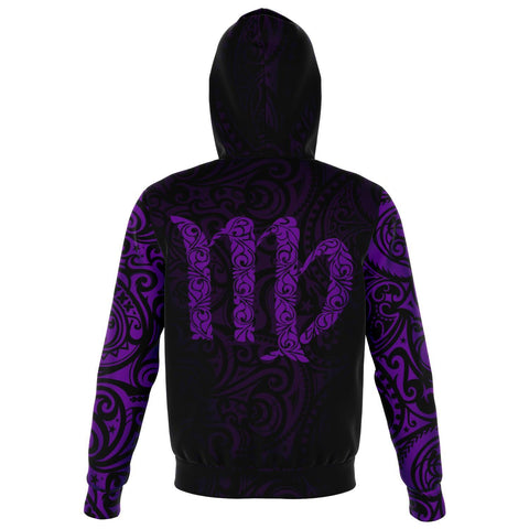 Virgo Zodiac Zip Hoodie Aotearoa Maori Tattoo | Love New Zealand back