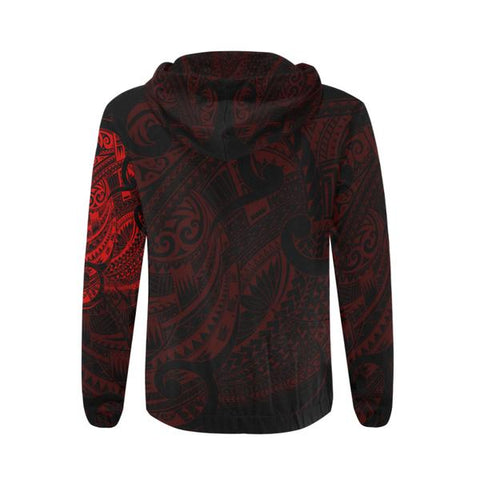 Maori Tattoo Style All Over Zip Hoodie Red Version - 1st New Zealand