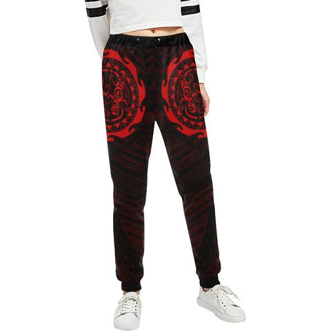 Maori Tangaroa Tattoo New Zealand Sweatpants with Black mix Red color - Front - For Women