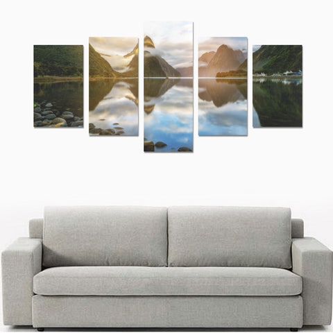 Image of Sunrise in Milford Sound New Zealand Canvas Print K4 - 1st New Zealand