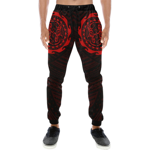 Maori Tangaroa Tattoo New Zealand Sweatpants with Black mix Red color - Front - For Men