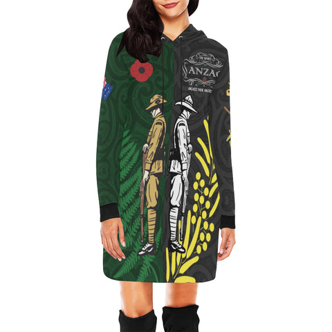 Anzac Spirit Hoodie Dress, Lest We Forget Sweatshirt Dress K5 - 1st New Zealand
