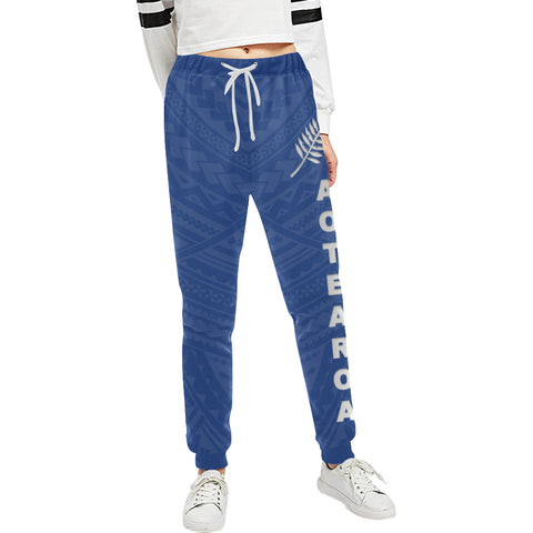 New Zealand Maori Sweatpants with Blue color - Front - For Women