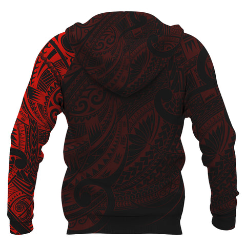 Maori Tattoo Style All Over Hoodie Red - Custom Version A74 - 1st New Zealand