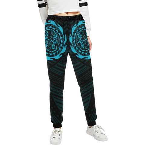 Maori Tangaroa Tattoo New Zealand Sweatpants with Black mix Blue color - Front - For Women
