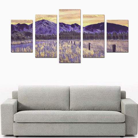 Image of Sunset over Mountains And Lupins New Zealand Canvas Print K4 - 1st New Zealand
