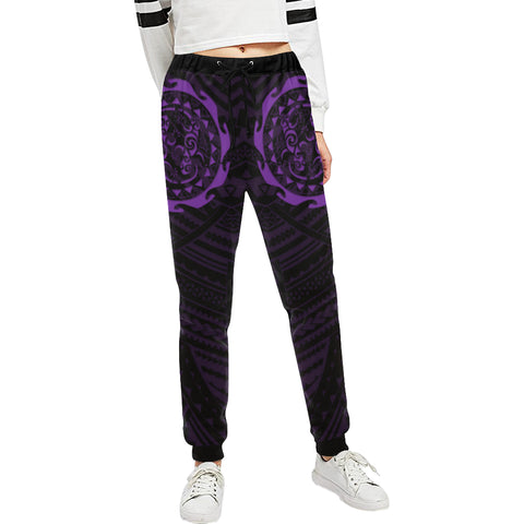 Maori Tangaroa Tattoo New Zealand Sweatpants with Black mix Purple color - Front - For Women