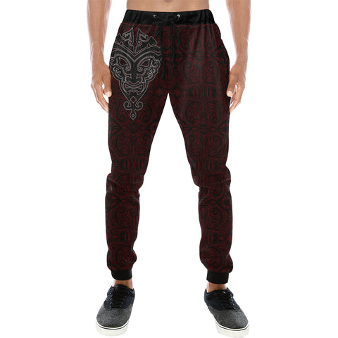 Image of Maori Face - Dark Red Sweatpants K24 - 1st New Zealand