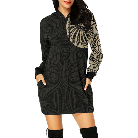 New Zealand Maori Hoodie Dress, Maori Warrior Tattoo Sweatshirt Dress - Tan A75 - 1st New Zealand