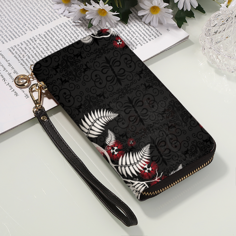 New Zealand Silver Fern with Pohutukawa Wallet K5 - 1st New Zealand