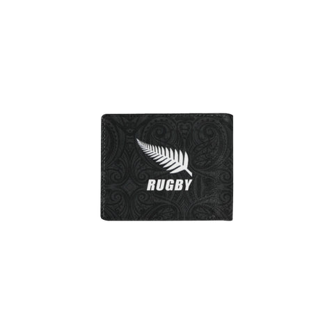 Rugby Haka Fern Mini Bifold Wallet Black K4 - 1st New Zealand