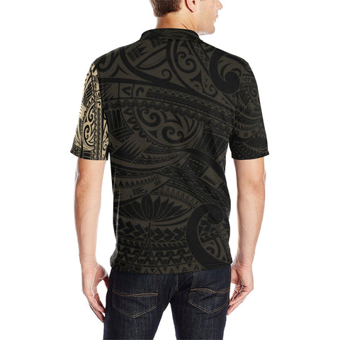 Image of Maori Tattoo Style Golden Polo T Shirt A72 - 1st New Zealand