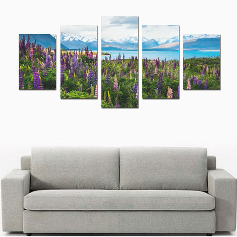 Image of New Zealand Lupins at Lake Tekapo Canvas Print K4 - 1st New Zealand
