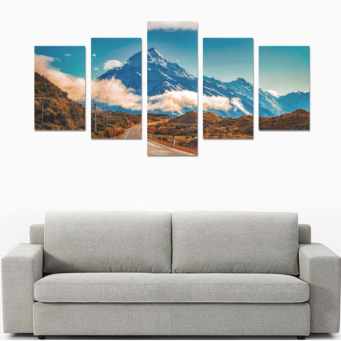 New Zealand Landscape Canvas Print - Road to Mount Cook K4 - 1st New Zealand