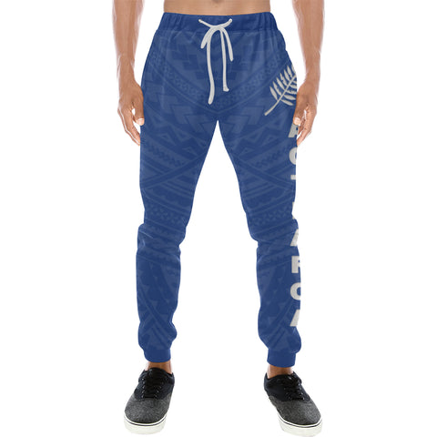 New Zealand Maori Sweatpants with Blue color - Front - For Men