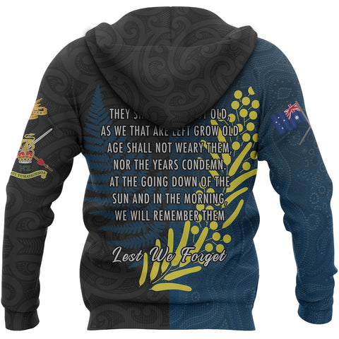 Anzac Spirit Hoodie, Lest We Forget Pullover Hoodie - Blue K5 - 1st New Zealand